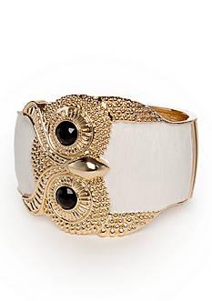 Red Camel Gold-Tone White Owl Bangle Bracelet