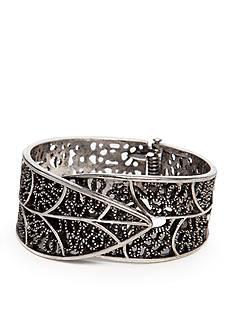 Red Camel Silver-Tone Leaf Cuff Bracelet