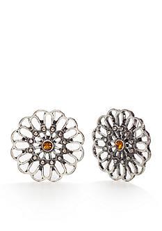 Red Camel Silver-tone Flower Button Earrings