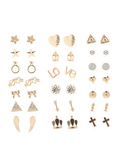 Red Camel Gold-Tone 20-Piece Romantic Stud Earring Set