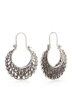 Red Camel Silver-Tone Filigree Hoop Earrings