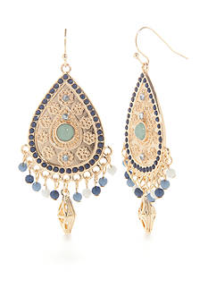 Red Camel Gold-Tone Blue Teardrop Earrings