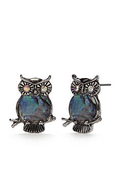Red Camel Silver-Tone Abalone Owl Button Earrings