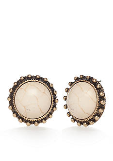 Red Camel Gold-tone Button Earrings