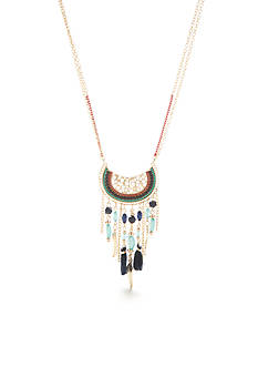 Red Camel Gold-Tone Long Crescent Moon Tassel Pendant Necklace