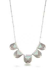 Red Camel Silver-Tone Turquoise Triangle Collar Necklace