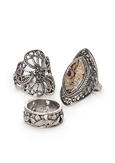 Red Camel Silver-tone Ring Set