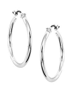 Nine West Earring - Classic Silver Click-Top Tube Hoop