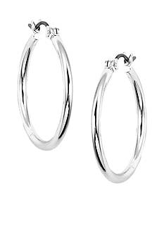 Nine West Classic Silver-Tone Click Top Tube Hoop Earrings