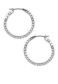Nine West Silver Beaded Click Top Hoop Earrings