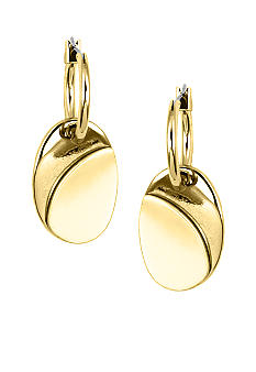 Nine West Gold Tube Hoop With Polished Oval Drop
