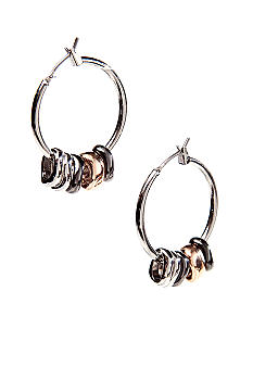 Nine West Silver Tube Hoop Earrings