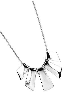 Nine West High Polish Silver Graduated Geometric Necklace