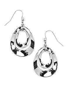 Nine West Polished Silver Hammered Tear Drop Pierced Earring