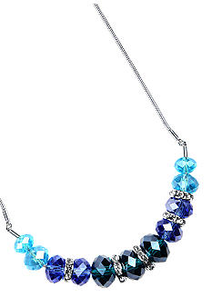 Nine West Ombre Blue Faceted Bead and Crystal Slide Necklace