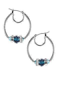 Nine West Silver Click Tube Hoop with Faceted Blue Beads and Crystals