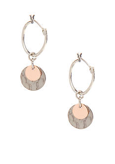 Nine West Tri-Color Hoop with Charm Drop Earring