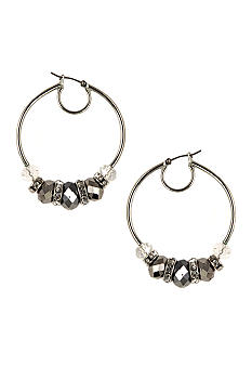 Nine West Pierced Beaded Hoop Earrings
