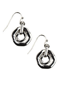 Nine West Hammered Silver Orbital Drop Pierced Earring