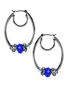 Nine West Pierced Small Beaded ClickIt Hoop Earrings