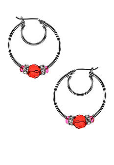 Nine West Beaded Click It Hoop Earrings