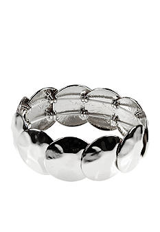 Nine West Polished Silver Hammered Disc Stretch Bracelet