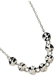 Nine West Polished Silver Hammered Disc Frontal Necklace