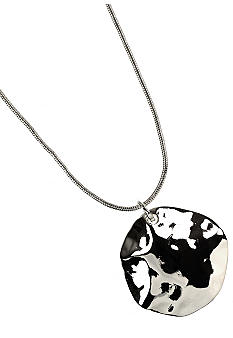 Nine West Polished Silver Hammered Disc Pendant