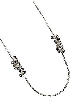 Nine West Long Length Polished Silver Station Necklace