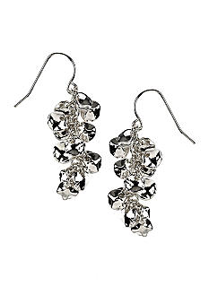 Nine West Artisan Inspired Silver Cluster Drop Earrings