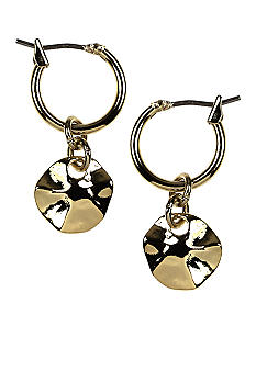 Nine West Polished Gold Hammered Disc Hoop Drop Earrings