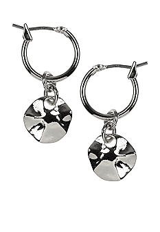 Nine West Artisan Inspired Silver Hoop with Drop Earrings