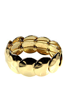 Nine West Polished Gold Hammered Disc Stretch Bracelet