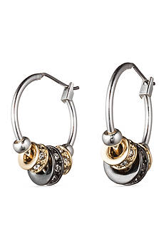 Nine West Slider Tri Tone Hoop Earrings