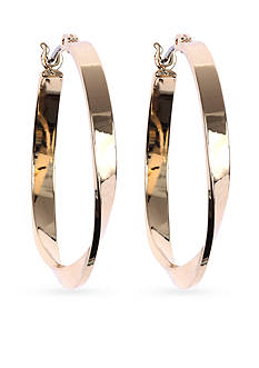 Nine West Gold-Tone Twisted Click-top Hoop Earrings