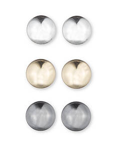 Nine West Tri-Tone Three Ball Stud Earring Set