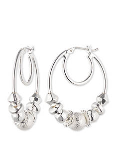 Nine West Silver-Tone Slider Hoop Earrings