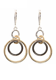 Nine West Tri-Tone Orbital Fascination Double Drop Earrings