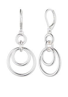 Nine West Silver-Tone Orbital Drop Earrings