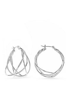 Nine West Shiny Twisted Hoop Earrings
