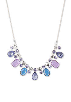 Nine West Silver-Tone Lucky Lavender Collar Necklace