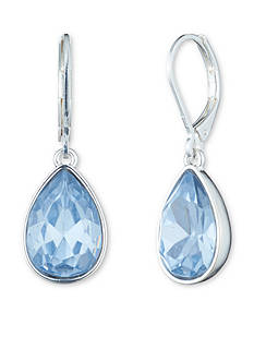 Nine West Silver-Tone Lucky Lavender Teardrop Earrings