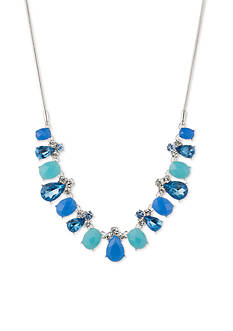 Nine West Silver-Tone Blue Jewel Azul Collar Necklace