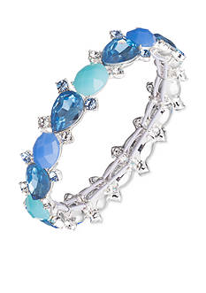 Nine West Silver-Tone Blue Jewel Azul Stretch Bracelet