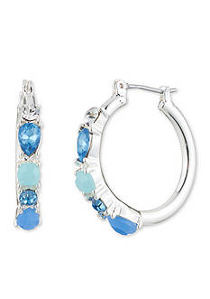 Nine West Silver-Tone Blue Jewel Azul Stone Hoop Earrings