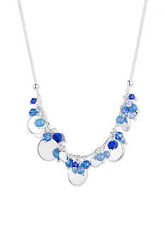 Nine West Silver-Tone and Blue Frontal Shaky Necklace