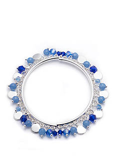 Nine West Silver-tone Blue Beaded Stretch Bracelet