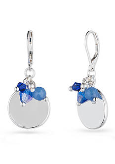Nine West Silver-Tone and Blue Lever Back Small Drop Earrings