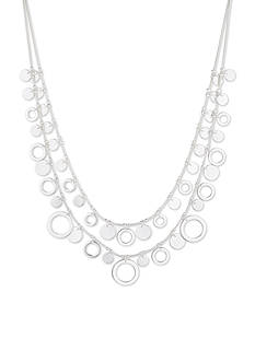 Nine West Silver-Tone Two Row Shaky Necklace