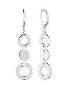 Nine West Silver-Tone Lever Back Linear Earrings